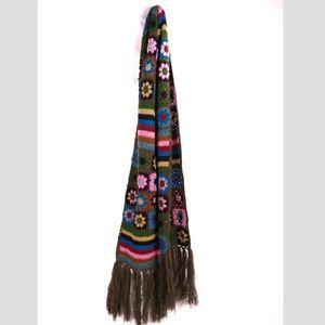 Lucky Brand Scarf Crochet 70s Hippie Boho Knit